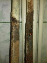 сменени изгнили тръби - преди и сега